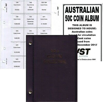 Black  50c. VST.AUSTRALIAN small coin album 6 pages FREE POST 1966 to 2016