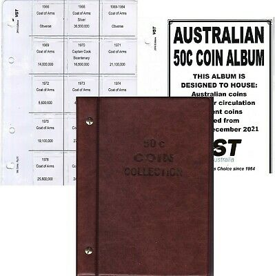 Brown 50c VST.AUSTRALIAN small coin album 6 pages FREE POST 1966 to 2018