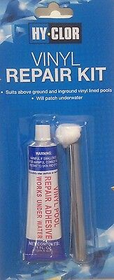 Hy- Clor Wet and Dry Vinyl Repair Kit For Pool Liners Inflatables Boats and Toys