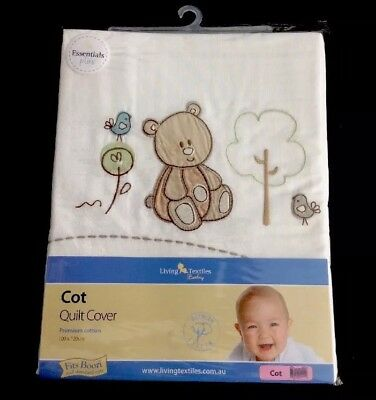 LIVING TEXTILES BABY COT QUILT COVER. 100cm X 120cm. BRAND NEW.