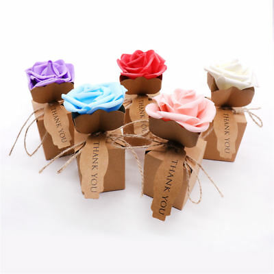 Brown Kraft Paper Box for Party Gift Wedding Favors Candy Jewelry Packing W/Rose