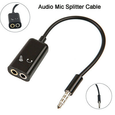 3.5mm Stereo Audio Mic Splitter Cable Earphone Adapter For PC Smartphone