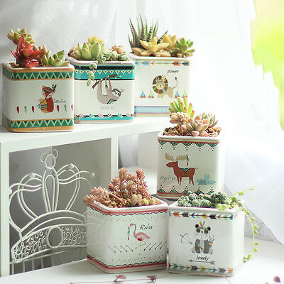 Cute Pattern Glazed Ceramic Succulent Planter Flower Bonsai Pot Box Garden Decor