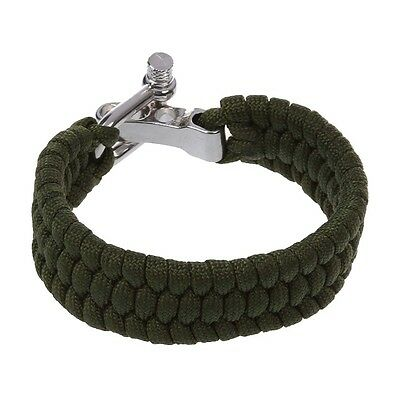 SS 7 Strand Survival Military Weave Bracelet Cord Buckle - Green