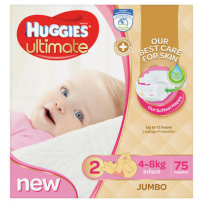 Huggies Ultimate Nappies Infant Girl Jumbo - 75 Pack
