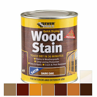 EVERBUILD QUICK DRYING WOOD STAIN 750ML WEATHERPROOF SATIN Pick Colour Woodstain