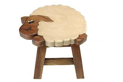 Kids Wooden SHEEP Design Foot Step Stool Brown Wood Chair Seat HAND PAINTED