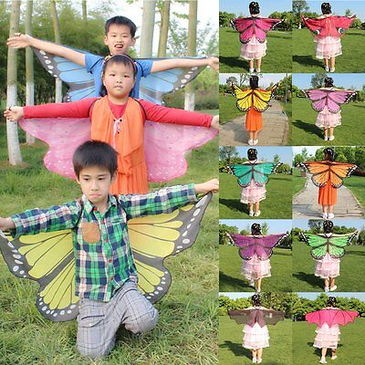 Kids Butterfly/Bat Wings Shawl Cape Stole Scarf Wrap Funny Dress Party Costume