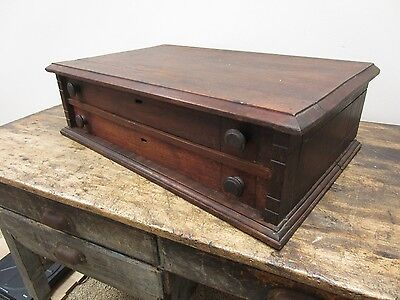 Antique Two Drawer Wood General Store Spool Cabinet