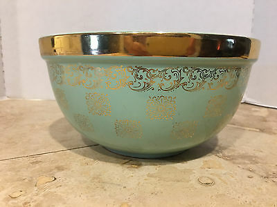 Vintage Set of 3 Hall's Superior Kitchenware Turquoise Green Gold Nesting Bowls