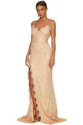 Nude Floral Lace Bridal Wedding Party Evening Gown Dress UK 8 plus size 16
