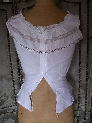 French Antique White Cotton  / Lace  Chemise Camisole  1900s