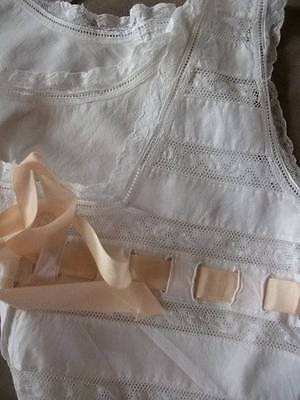 French Antique Boudoir White Cotton  / Lace Chemise Camisole c1900