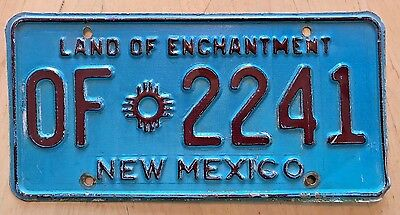 """1970 Era  New Mexico Official License Plate """" Of 2241 """" Nm State Owned Vehicle"""