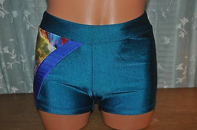 Nwt BalTogs Adult size Small Teal nylon  spandex  Dance Booty Shorts #87212