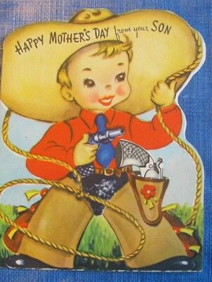 UNUSED COWBOY WITH PULL OUT GUN VINTAGE CHILD GREETING CARD 50s FOR MOTHER'S DAY