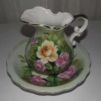 Beautiful Vintage Floral Porcelain Wash Basin and Pitcher Mint Green Decorative