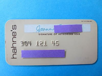 Vintage Hahne's Department Store Credit Card