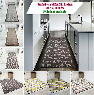 Modern Non Slip Washable Kitchen Mats Easy Clean Anti Slip Runner Floor Mats UK