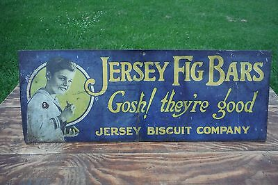 Rare Vintage 1920's Jersey Fig Bars Candy Store Kitchen  Metal Sign