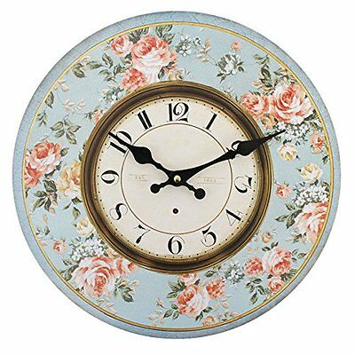 Large Shabby Chic Vintage Retro Blue Floral Rose Kitchen Wall Clock