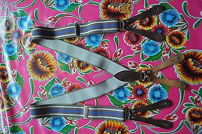 Vintage blue striped braces suspenders with button fastening
