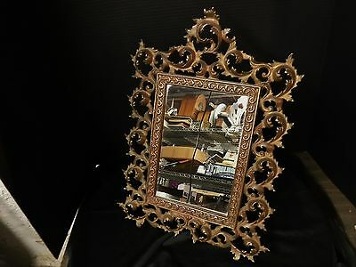 Nice Ornate Antique Victorian PICTURE FRAME Easel Gilt Cast Iron With Mirror