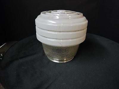 Vintage 30s 40's Deco White & Clear Glass Shade Kitchen Bathroom Hall