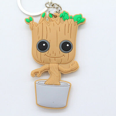 New Groot Double Sides Soft Rubber Keyring Keychain bags Pendant