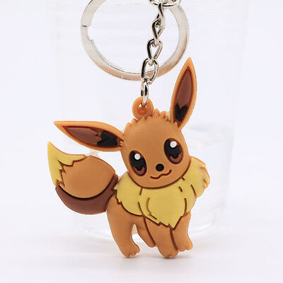 New pokemon Double Sides Soft Rubber Keyring Keychain bags Pendant