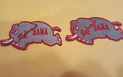 """(2 ) Alabama Crimson Tide Vintage Embroidered Iron On Patch Lot 3 x 2.5"""" patches"""