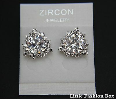Superior Cut Very Shiny Trillion Cubic Zirconia Crystal Cluster Stud Earring UK