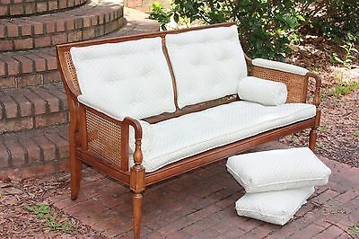 Vintage Cane Settee Love Seat Custom Cushioned Blue White Wooden Small Sofa