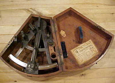 ANTIQUE ENGLISH NAUTICAL SEXTANT GRAY STRAND LIVERPOOL ORIGINAL WOODEN BOX c1850