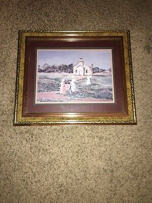Home Interior HOMCO Old SCHOOL Church Picture 20.5 x17.5 Gold Frame