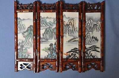 Fine old chinese porcelain hand painted inset table screen in bamboo 4 panels DS
