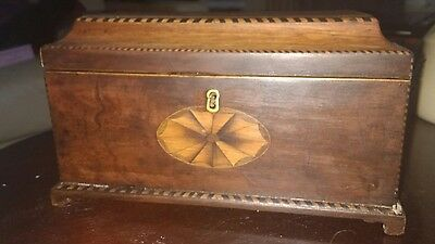 Beautiful antique inlaid tea box made of walnut or mahogany