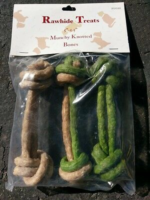 Pack of 10 Rawhide Knots Dog Treats Chew Toy Puppy Training NEW 30 Total Treats