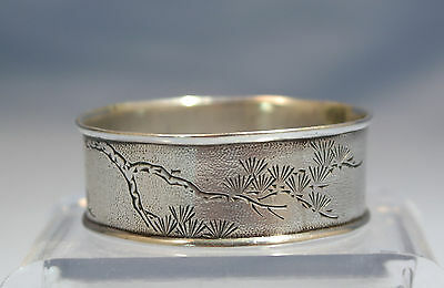 Chinese Shanghai 900 Silver Etched Napkin Ring Circa 1900