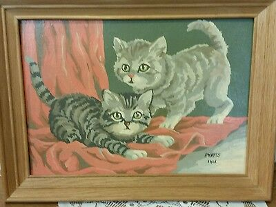 Vintage Paint by Numbers framed painting kittens cat