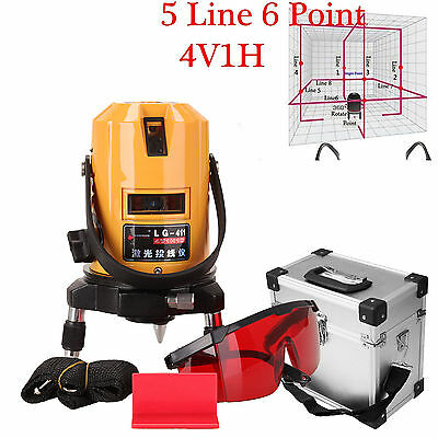 360 Degree Self Leveling 5 Line 6 Point Automatic Rotary Laser Level w/Case