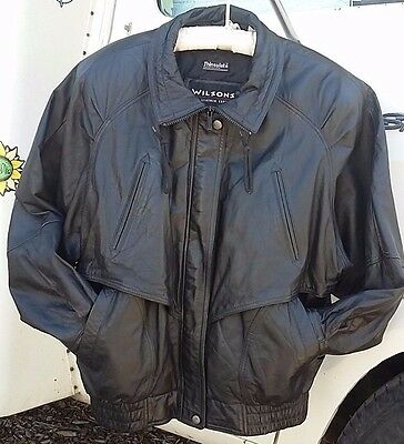 WILSONS Men's Black Leather Jacket Coat Thinsulate Removable Liner Size Large