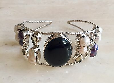 Stunning Black Onxy, Citrine, Pearls & 925 Sterling Silver Bracelet / Bangle