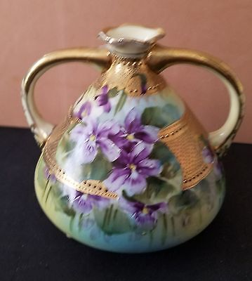 """Antique Violets Handpainted Nippon Moriage """"beaded"""" two handled Vase"""