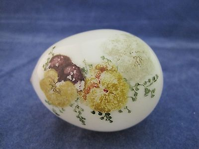Antique Milk Glass Egg Hand Painted Easter Pansy's 2 3/4 Inches NICE! SHP