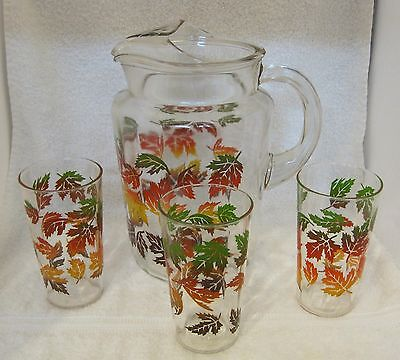 Vintage Glass Amazing Autumn Leaves Pitcher & 3 Glasses Green Brown Orange SHP