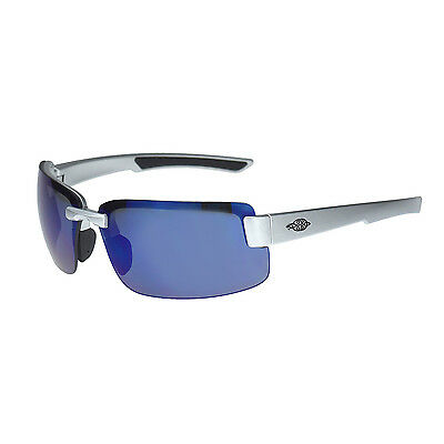 Crossfire By Radians 442208 ES6 Safety Glasses, Silver Gloss w/Blue Mirror Lens