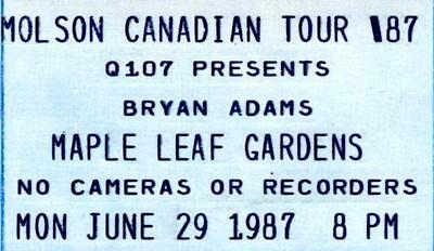 BRYAN ADAMS Concert Ticket Jun 29,1987 MAPLE LEAF GARDENS, Toronto.Unused Ticket