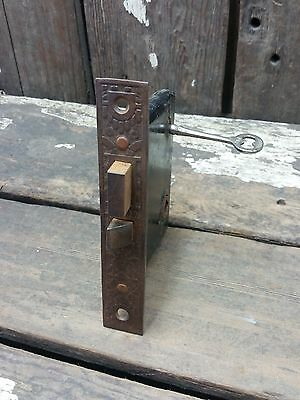 VTG Old Antique Fancy Metal EASTLAKE Mortise Door Lock w/ Working Skeleton KEY *
