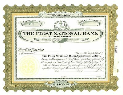 THE FIRST NATIONAL BANK, ONTONAGON, MICH. - Unissued Stock Certificate